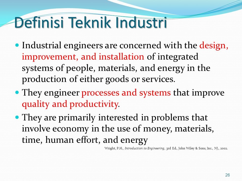 Definisi Teknik Industri