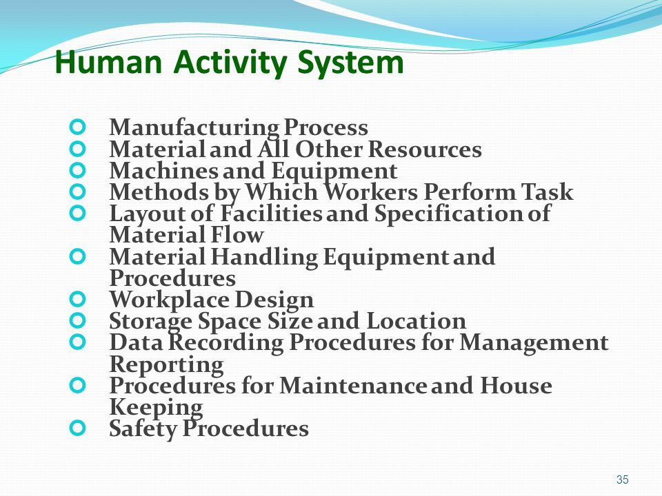 Human Activity System Manufacturing Process