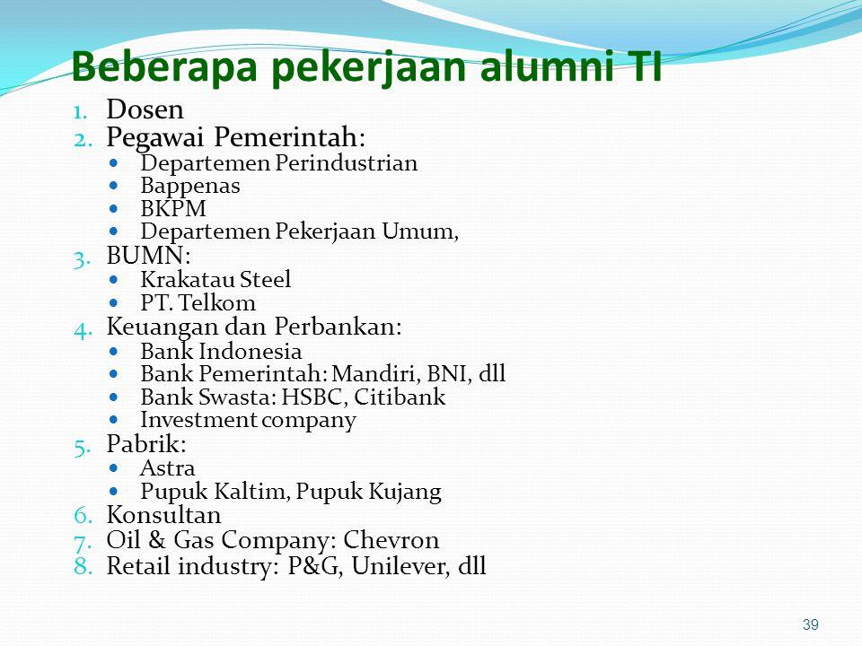 Beberapa pekerjaan alumni TI