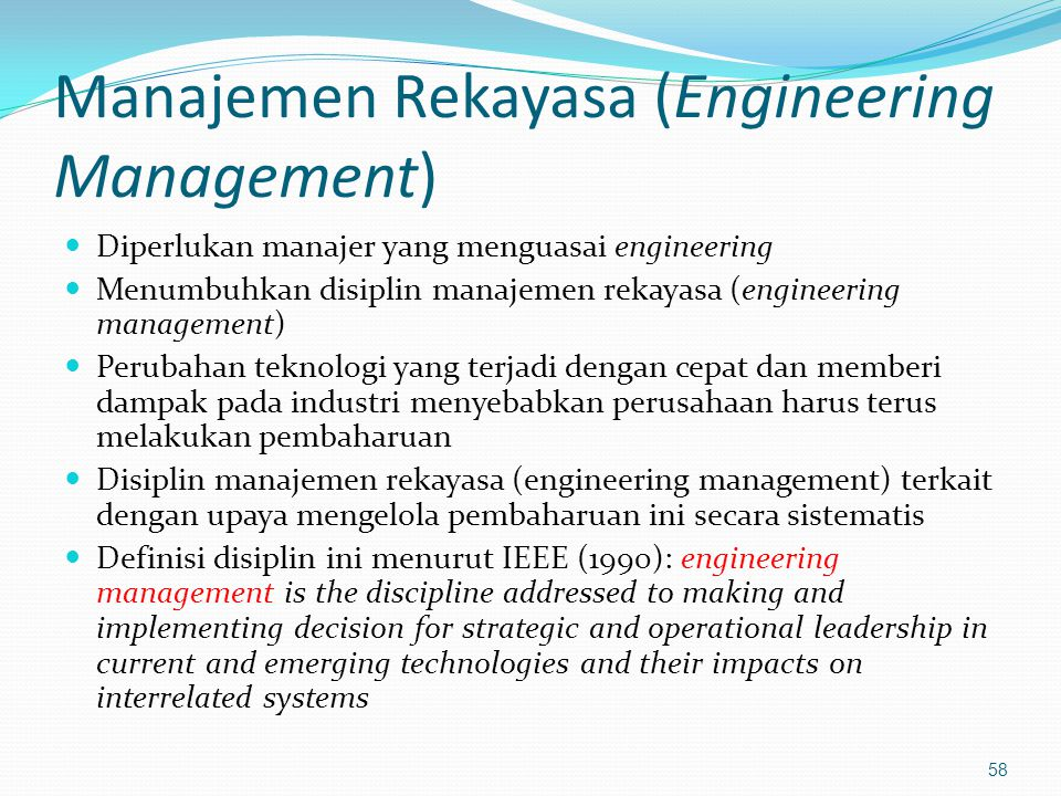 Manajemen Rekayasa (Engineering Management)