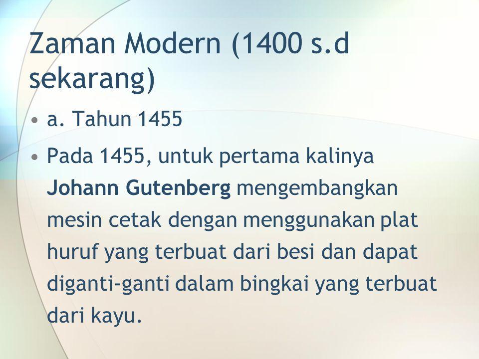 Zaman Modern (1400 s.d sekarang)