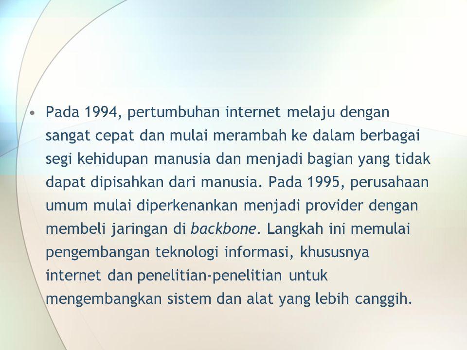 Pada 1994, pertumbuhan internet melaju dengan sangat cepat dan mulai merambah ke dalam berbagai segi kehidupan manusia dan menjadi bagian yang tidak dapat dipisahkan dari manusia.