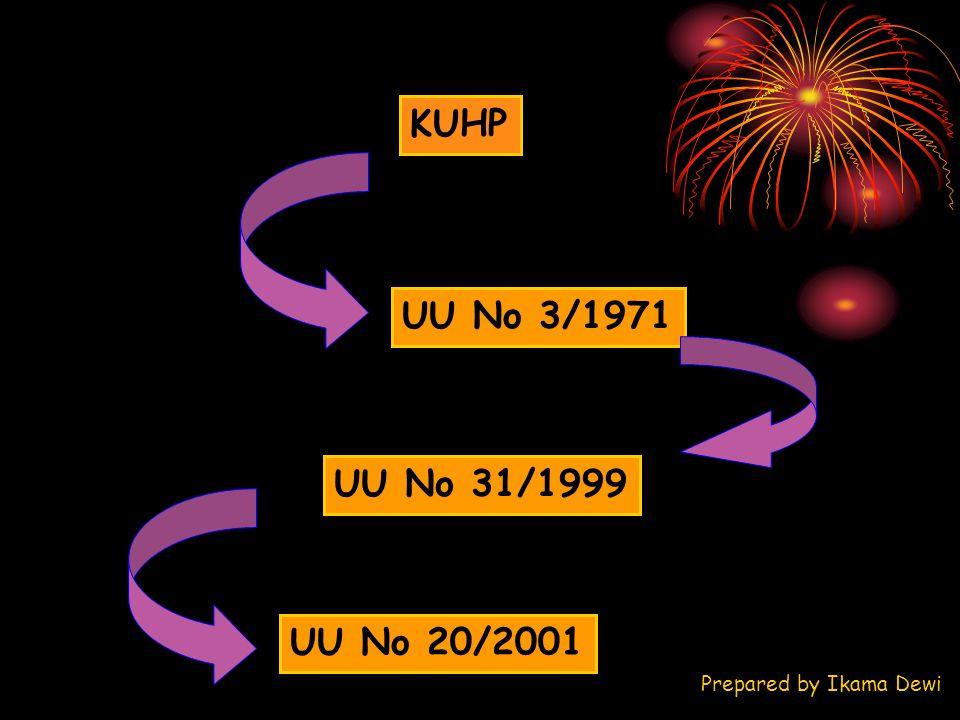 KUHP UU No 3/1971 UU No 31/1999 UU No 20/2001 Prepared by Ikama Dewi