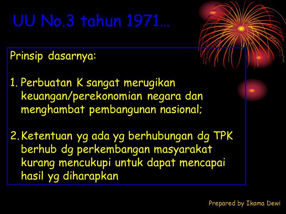 UU No.3 tahun 1971… Prinsip dasarnya: