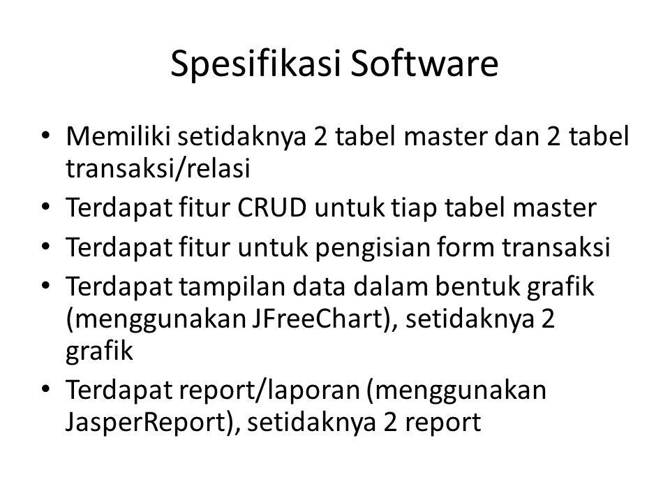 Spesifikasi Software Memiliki setidaknya 2 tabel master dan 2 tabel transaksi/relasi. Terdapat fitur CRUD untuk tiap tabel master.