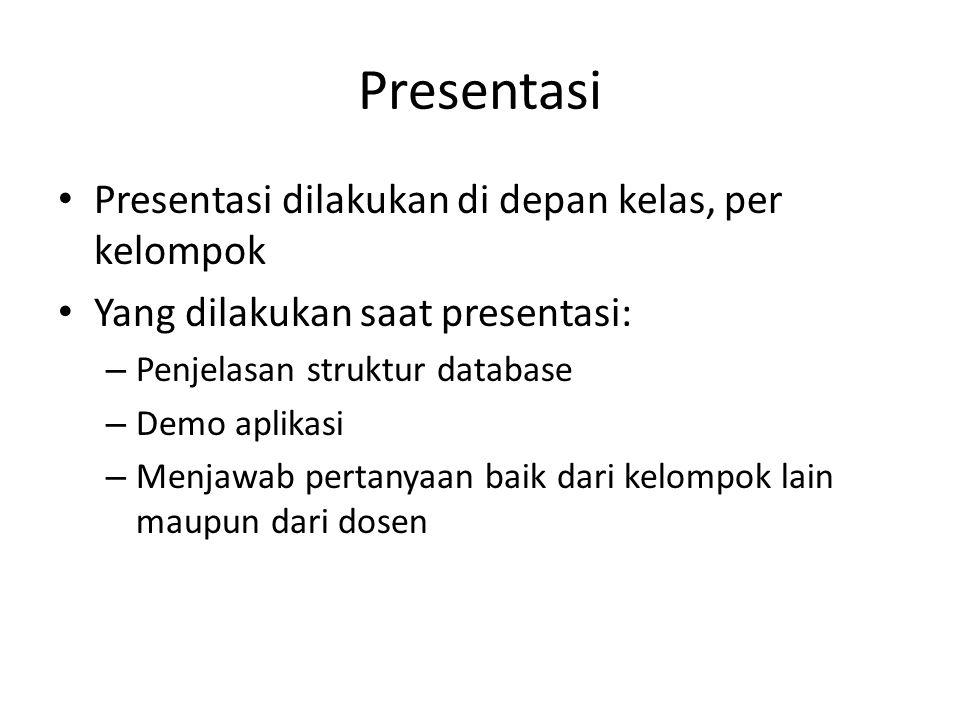 Presentasi Presentasi dilakukan di depan kelas, per kelompok