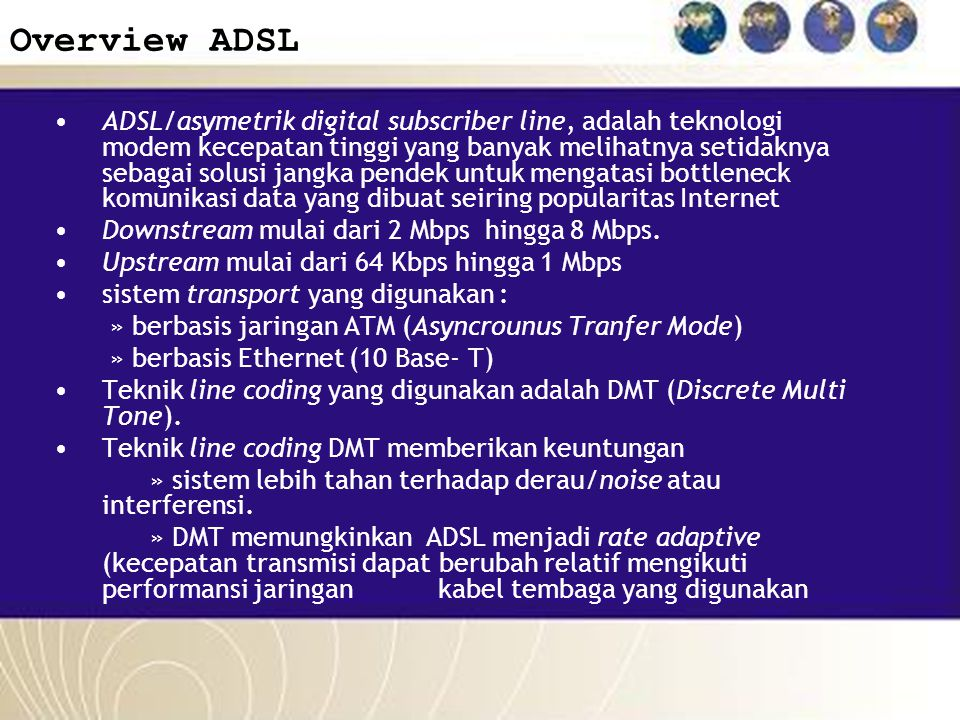 Overview ADSL