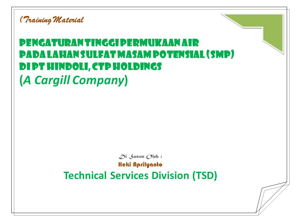 Technical Services Division (TSD)