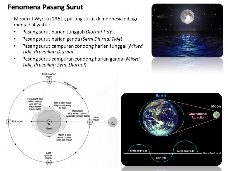 Fenomena Pasang Surut Menurut Wyrtki (1961), pasang surut di Indonesia dibagi menjadi 4 yaitu : Pasang surut harian tunggal (Diurnal Tide).