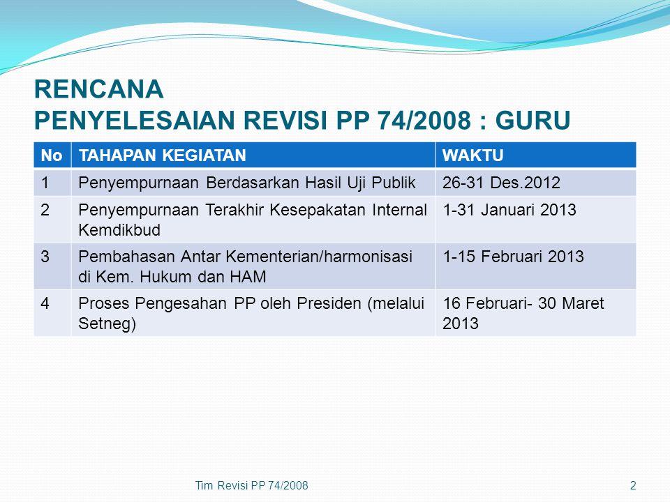 RENCANA PENYELESAIAN REVISI PP 74/2008 : GURU