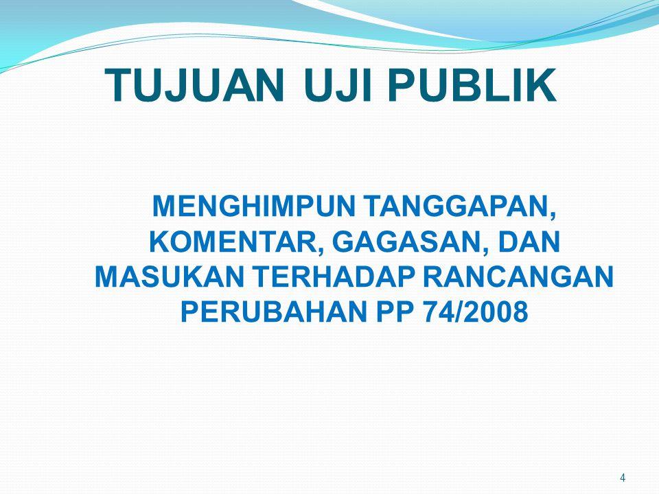 TUJUAN UJI PUBLIK MENGHIMPUN TANGGAPAN, KOMENTAR, GAGASAN, DAN MASUKAN TERHADAP RANCANGAN PERUBAHAN PP 74/2008.