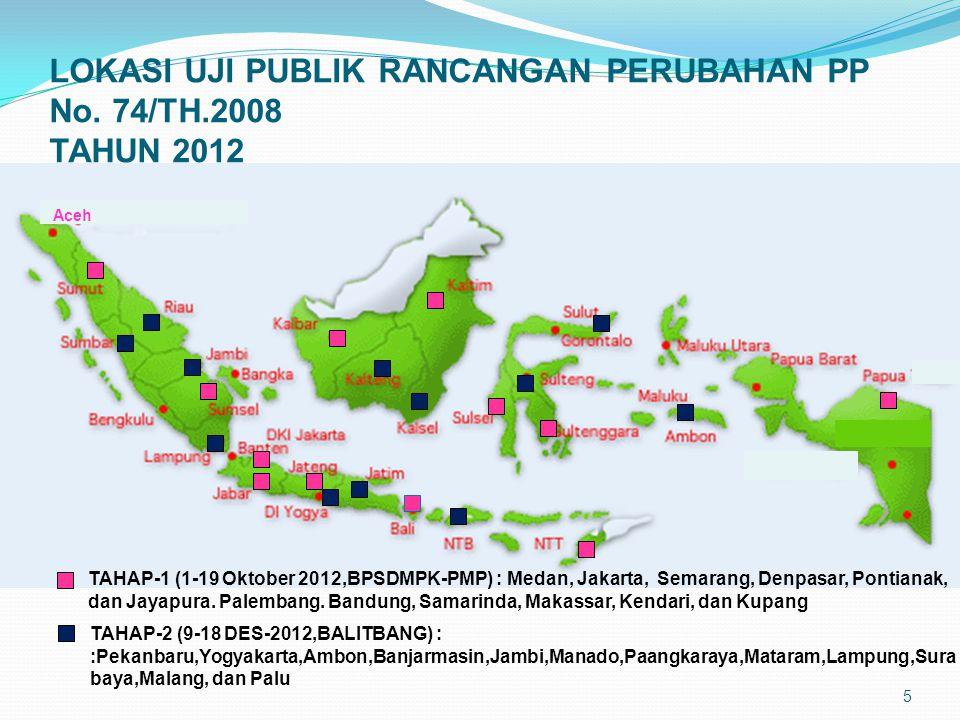 LOKASI UJI PUBLIK RANCANGAN PERUBAHAN PP No. 74/TH.2008 TAHUN 2012