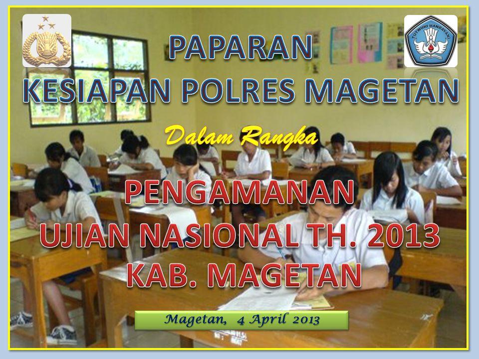 KESIAPAN POLRES MAGETAN PENGAMANAN UJIAN NASIONAL TH. 2013