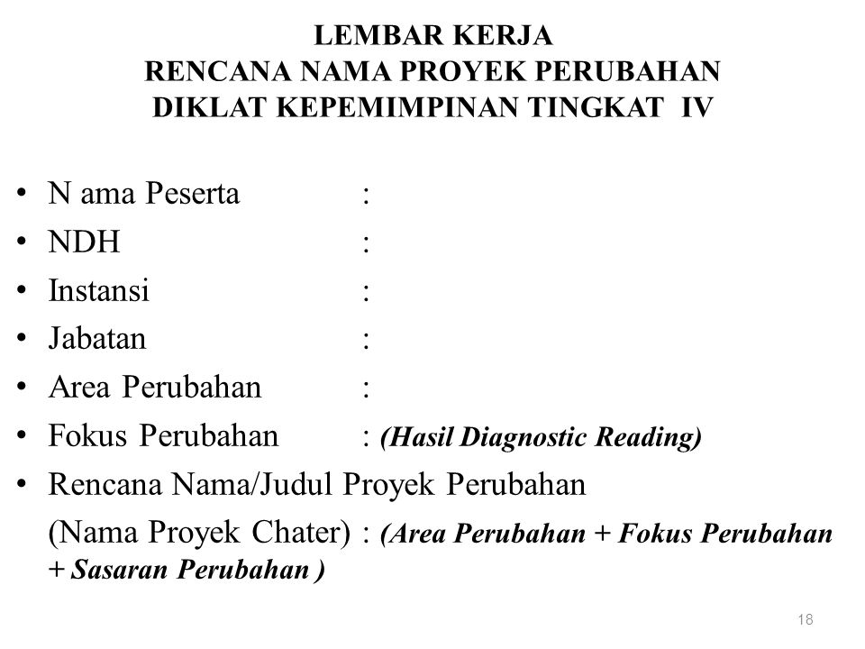 Fokus Perubahan : (Hasil Diagnostic Reading)