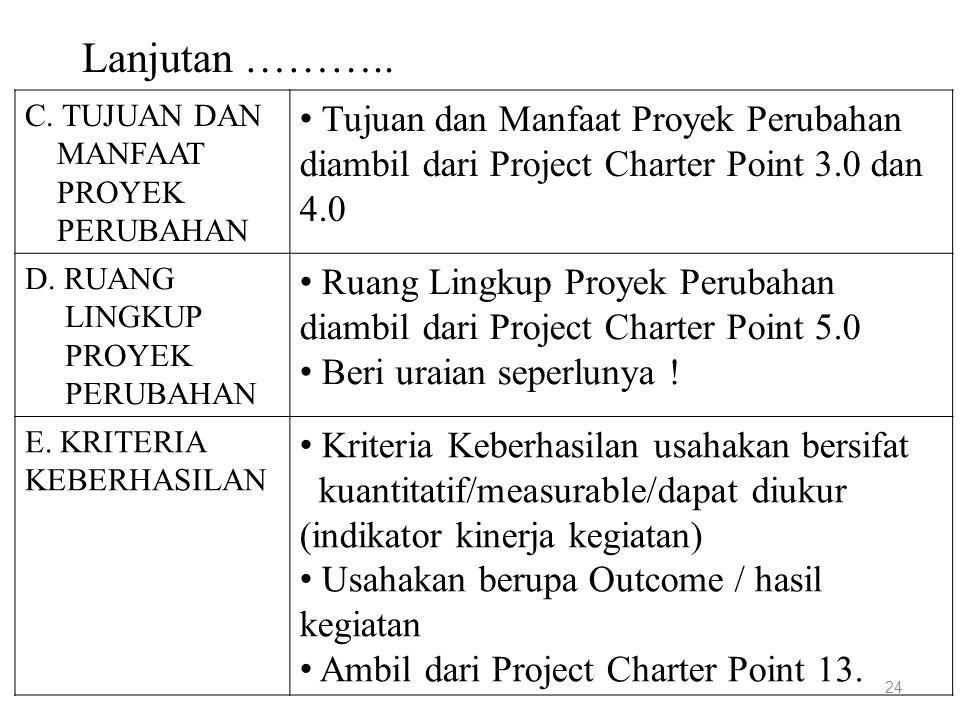 Lanjutan ……….. C. TUJUAN DAN. MANFAAT. PROYEK. PERUBAHAN. Tujuan dan Manfaat Proyek Perubahan diambil dari Project Charter Point 3.0 dan 4.0.