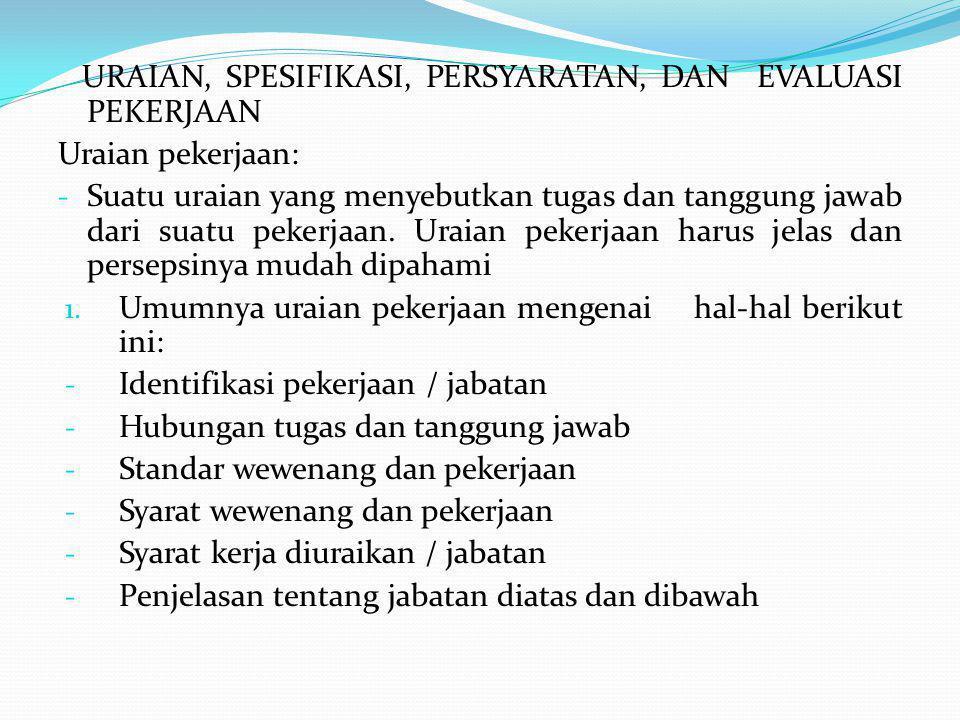 URAIAN, SPESIFIKASI, PERSYARATAN, DAN EVALUASI PEKERJAAN