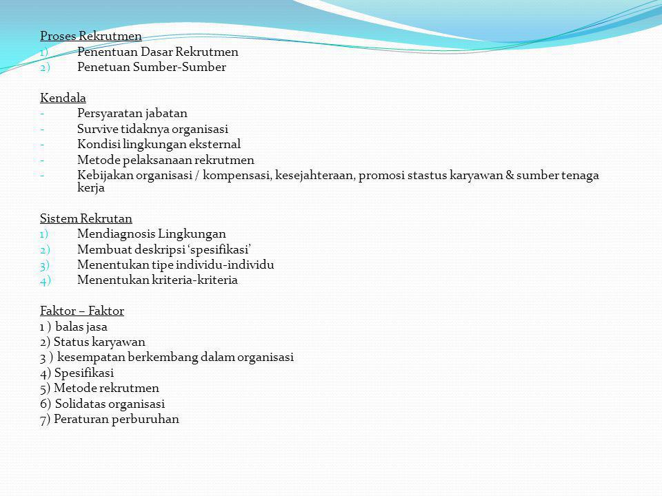 Proses Rekrutmen Penentuan Dasar Rekrutmen. Penetuan Sumber-Sumber. Kendala. Persyaratan jabatan.