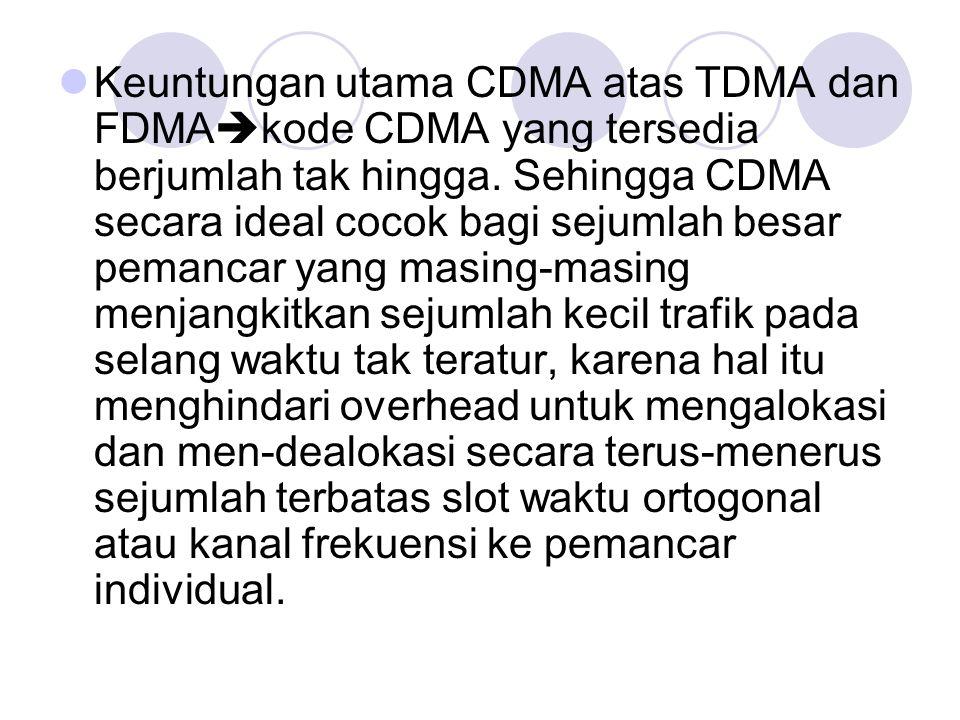 Keuntungan utama CDMA atas TDMA dan FDMAkode CDMA yang tersedia berjumlah tak hingga.
