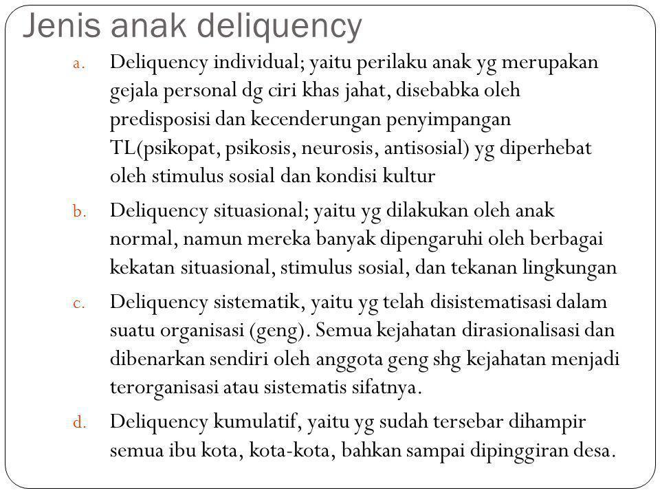 Jenis anak deliquency
