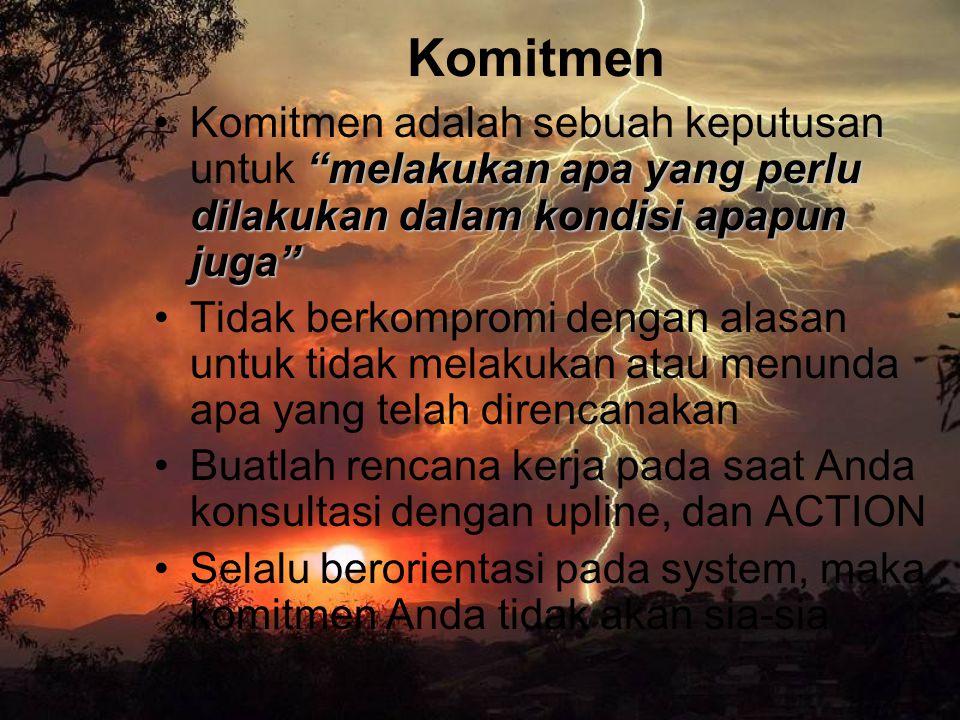 Komitmen Komitmen adalah sebuah keputusan untuk melakukan apa yang perlu dilakukan dalam kondisi apapun juga