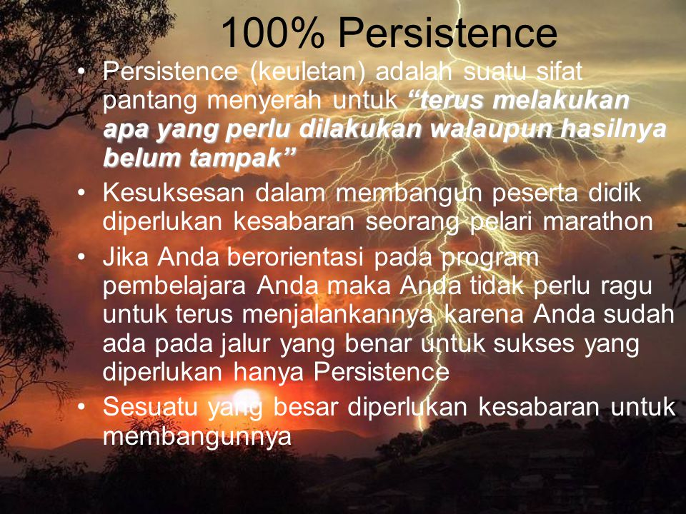 100% Persistence