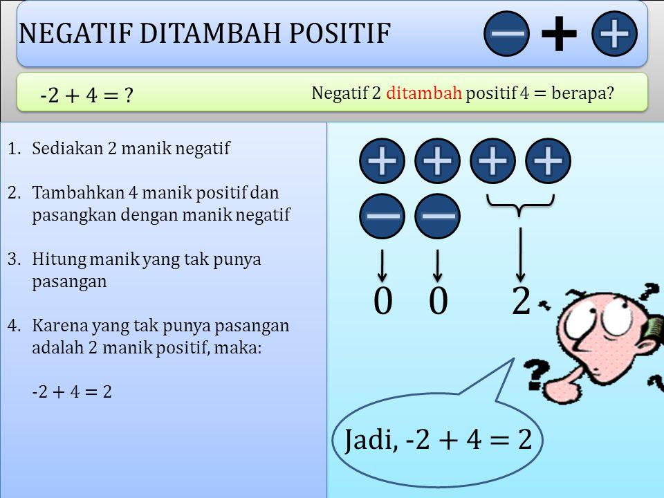 2 NEGATIF DITAMBAH POSITIF Jadi, -2 + 4 = 2 -2 + 4 =