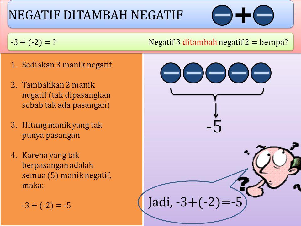 -5 NEGATIF DITAMBAH NEGATIF Jadi, -3+(-2)=-5 -3 + (-2) =