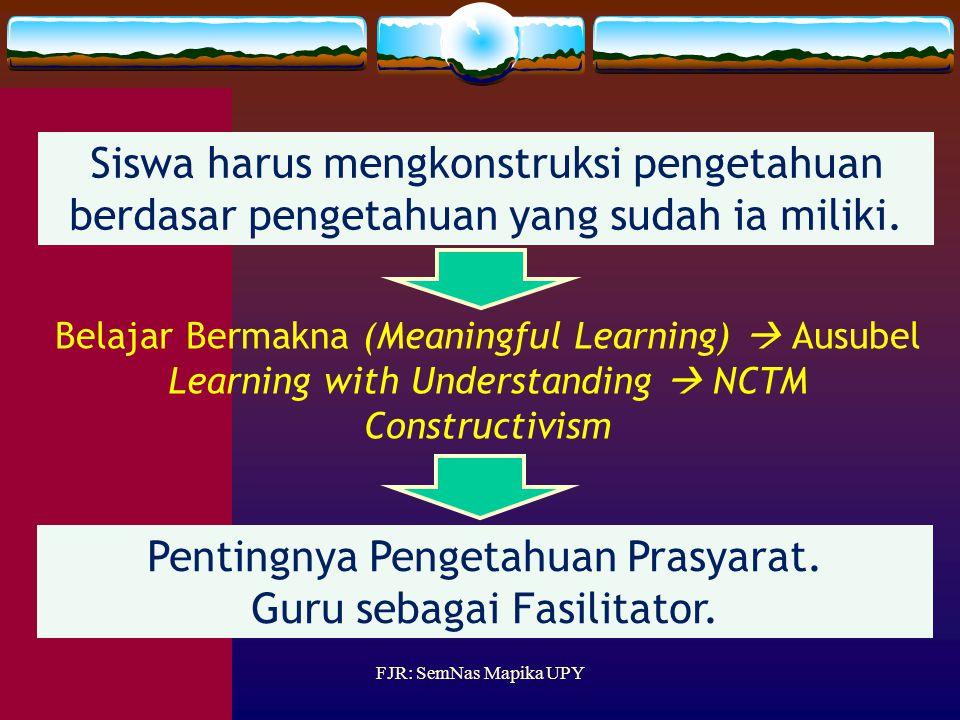 Pentingnya Pengetahuan Prasyarat. Guru sebagai Fasilitator.
