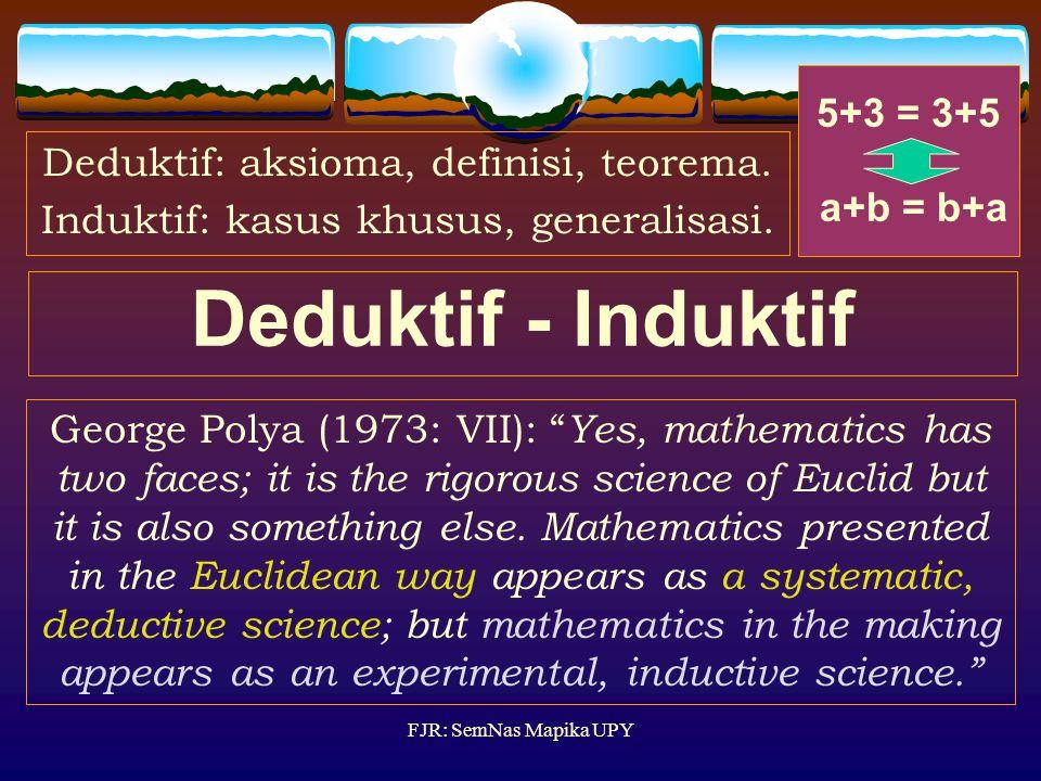 Deduktif - Induktif 5+3 = 3+5 a+b = b+a
