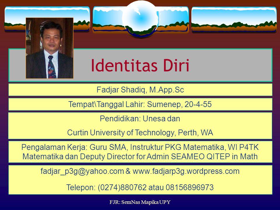 Identitas Diri Fadjar Shadiq, M.App.Sc