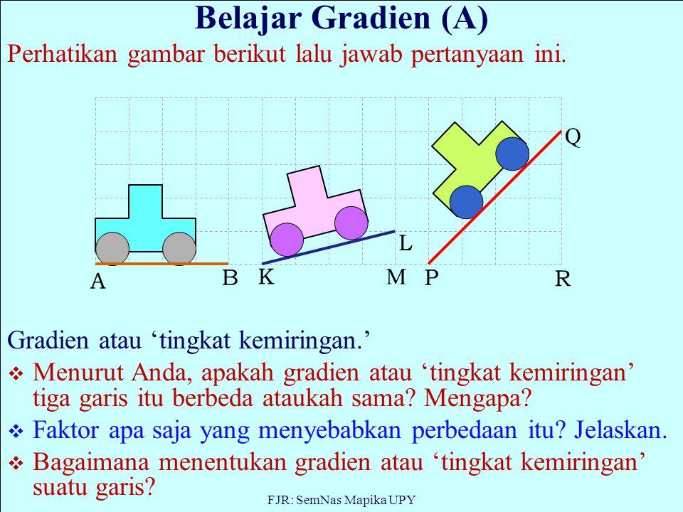 Belajar Gradien (A) Perhatikan gambar berikut lalu jawab pertanyaan ini. Gradien atau 'tingkat kemiringan.'