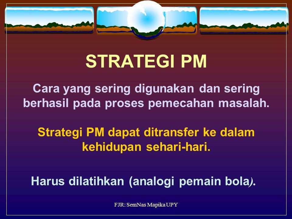 STRATEGI PM Cara yang sering digunakan dan sering berhasil pada proses pemecahan masalah. Strategi PM dapat ditransfer ke dalam kehidupan sehari-hari. Harus dilatihkan (analogi pemain bola).