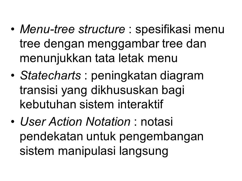 Menu-tree structure : spesifikasi menu tree dengan menggambar tree dan menunjukkan tata letak menu