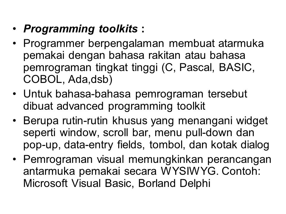 Programming toolkits :
