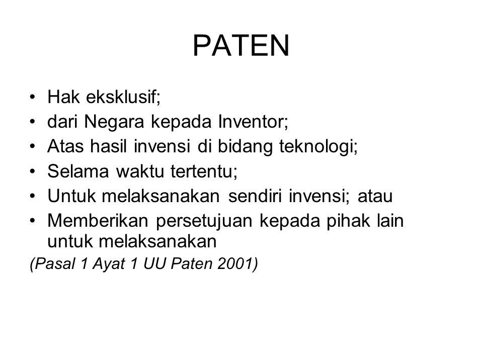 PATEN Hak eksklusif; dari Negara kepada Inventor;