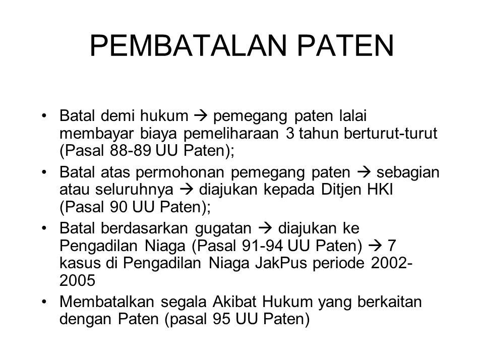 PEMBATALAN PATEN Batal demi hukum  pemegang paten lalai membayar biaya pemeliharaan 3 tahun berturut-turut (Pasal 88-89 UU Paten);