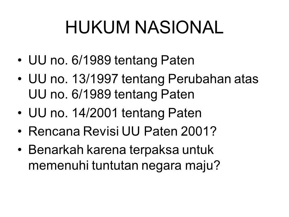 HUKUM NASIONAL UU no. 6/1989 tentang Paten