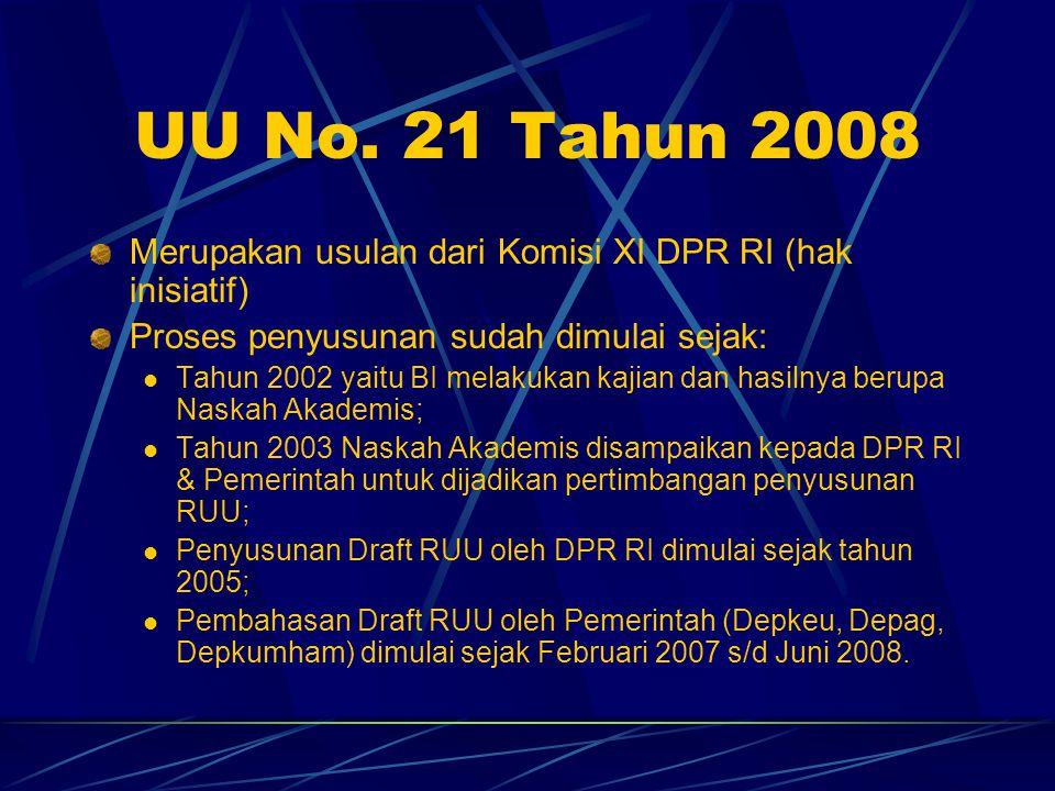 UU No. 21 Tahun 2008 Merupakan usulan dari Komisi XI DPR RI (hak inisiatif) Proses penyusunan sudah dimulai sejak:
