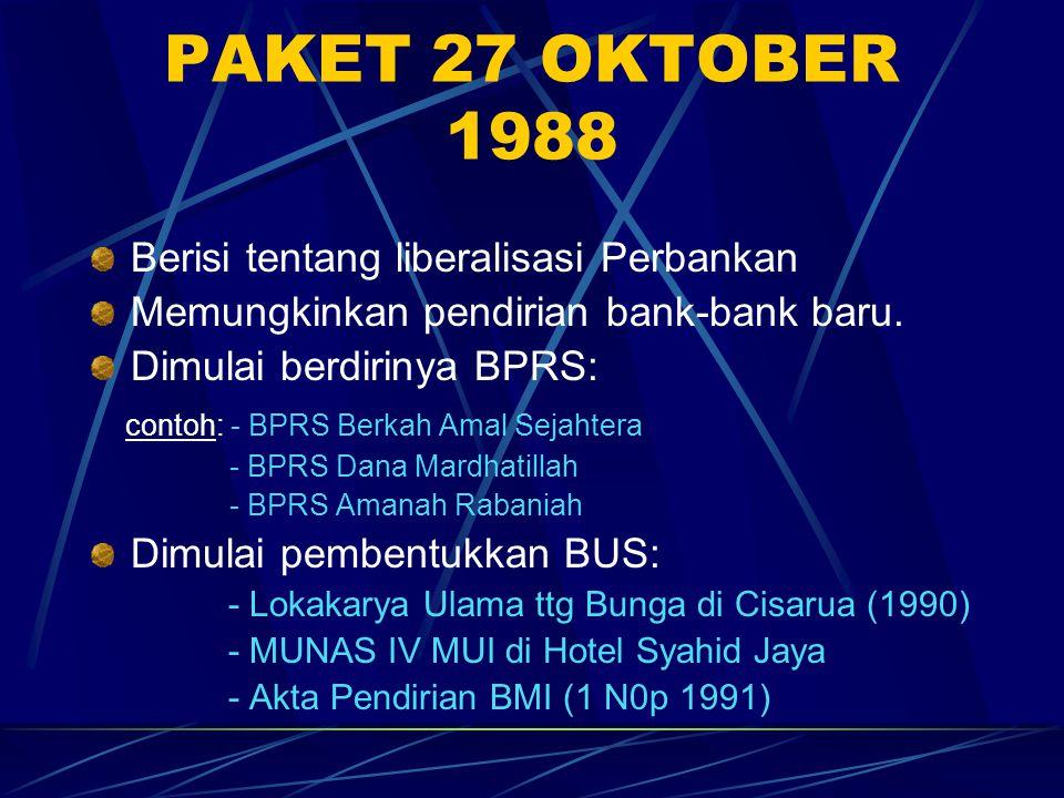 PAKET 27 OKTOBER 1988 Berisi tentang liberalisasi Perbankan