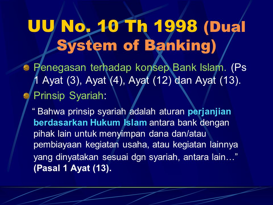 UU No. 10 Th 1998 (Dual System of Banking)