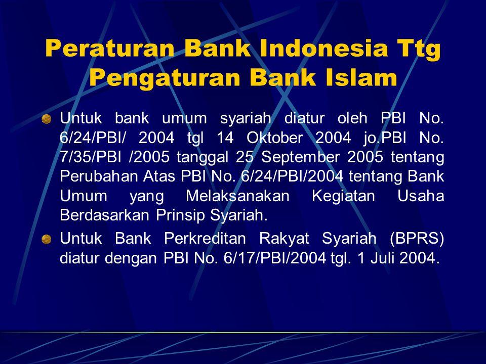 Peraturan Bank Indonesia Ttg Pengaturan Bank Islam