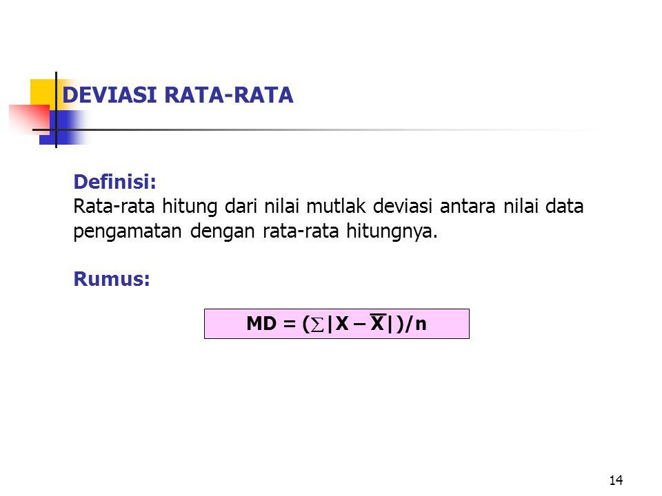 DEVIASI RATA-RATA Definisi: