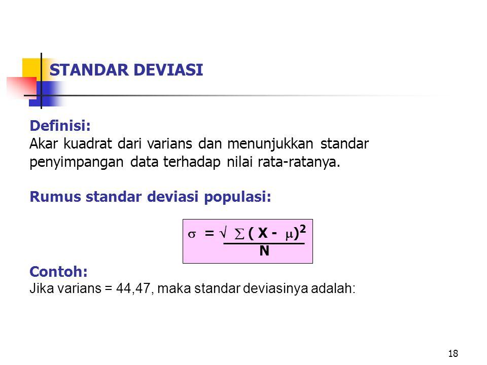 STANDAR DEVIASI Definisi: