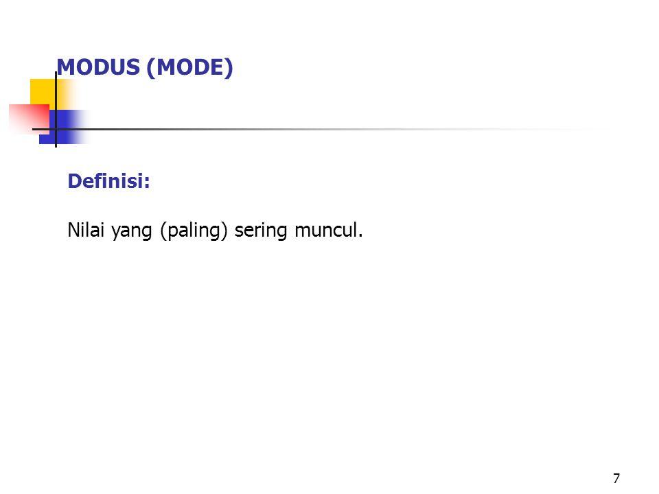 MODUS (MODE) Definisi: Nilai yang (paling) sering muncul.