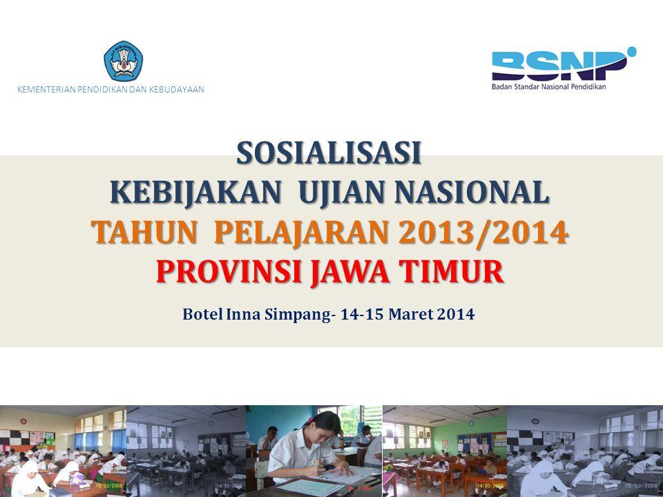 KEBIJAKAN UJIAN NASIONAL Botel Inna Simpang- 14-15 Maret 2014