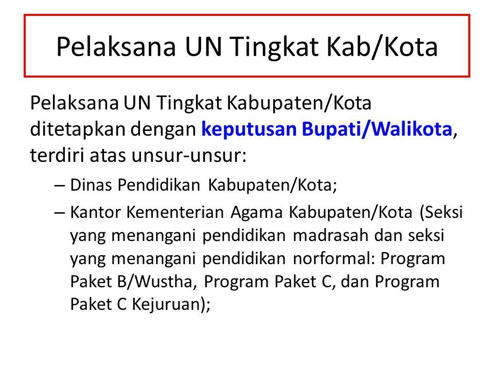 Pelaksana UN Tingkat Kab/Kota