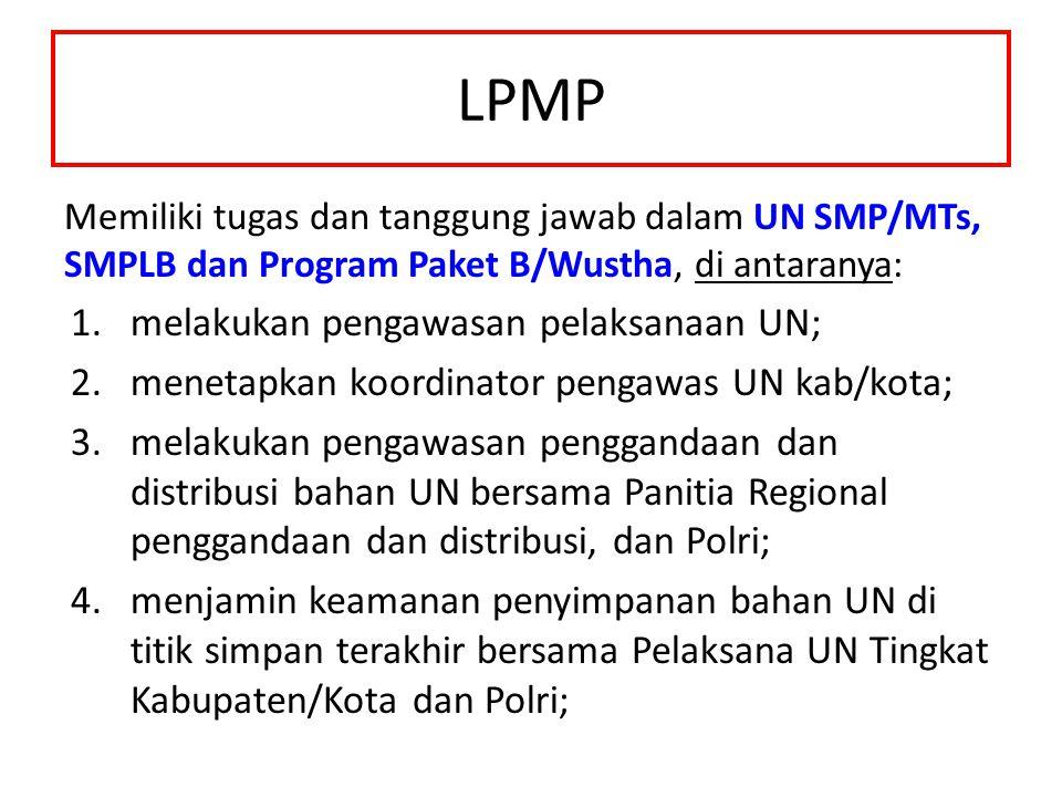 LPMP melakukan pengawasan pelaksanaan UN;