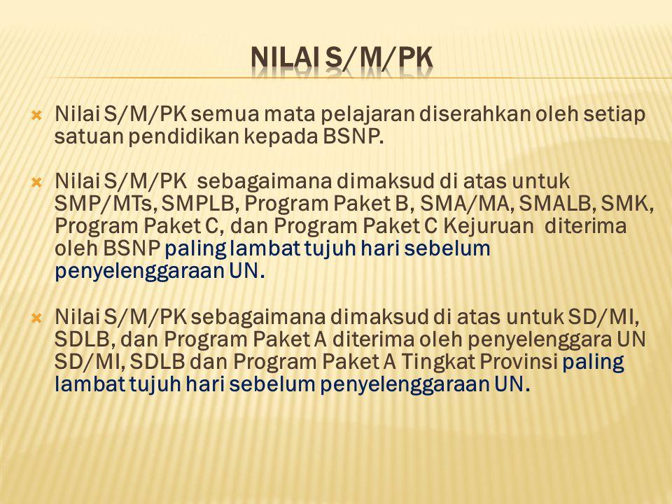 Nilai S/M/PK Nilai S/M/PK semua mata pelajaran diserahkan oleh setiap satuan pendidikan kepada BSNP.
