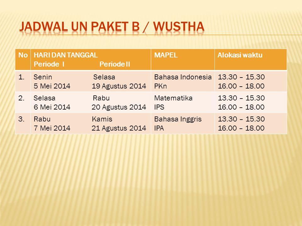 JADWAL UN PAKET B / WUSTHA