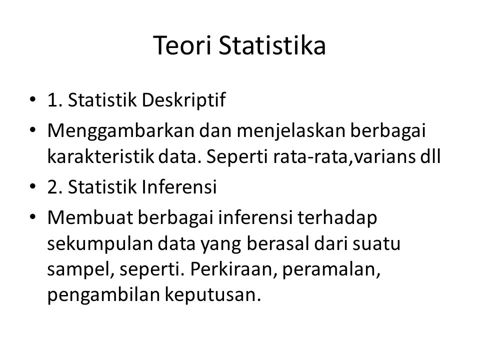 Teori Statistika 1. Statistik Deskriptif